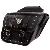 Willie & Max Silver Eagle Studded Collection Compact Slant Saddlebags
