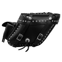 Leatherworks, Inc. Wide Angle Box Top Studded Saddlebags With Rear Pockets