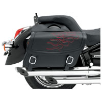 Saddlemen Medium Highwayman Tattoo Saddlebags Red Embroidered Flames