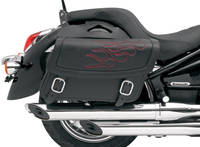 Saddlemen Jumbo Highwayman Tattoo Saddlebag Dark Red Embroidered Flames