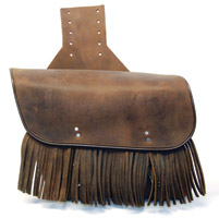 Leatherworks, Inc. Distressed Brown Throw-Over Saddlebags with Fringe