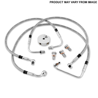 Twin Power Front Stainless Steel Braided Brake Line Kit Stock Length