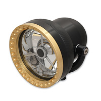 Ken′s Factory 4-1/2″ Neo-Fusion Black with Brass Ring Headlight