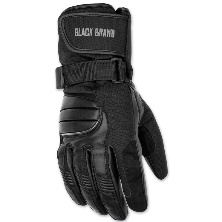 Black Brand Men's Crossover Black Leather Gloves
