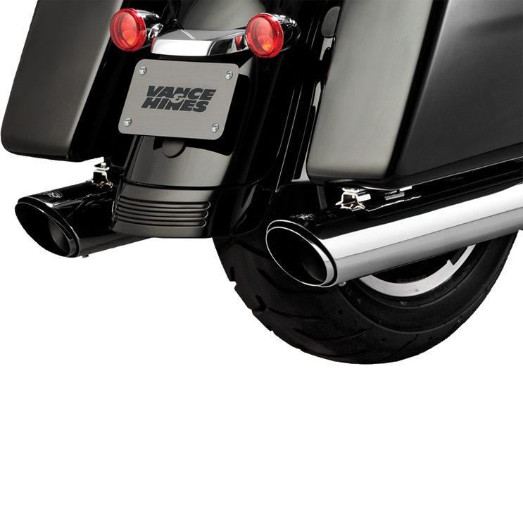 Vance & Hines Twin Slash Round Exhaust Slip Ons Chrome