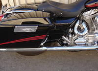Joker Machine Flame Chrome Saddlebag Latch Covers