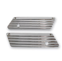 Joker Machine Finned Chrome Saddlebag Latch Covers