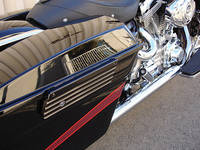Joker Machine Finned Black Saddlebag Latch Covers