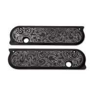 Arlen Ness Engraved Black Saddlebag Latch Cover