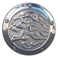 Chrome Dome Polished Flaming Skull Derby Cover