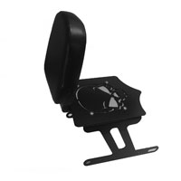 BDD Custom Black Skull Luggage Rack w/Backrest for Solo Seat