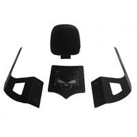 BDD Custom Black Skull Luggage Rack w/ Backrest for 2-Up Seats