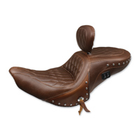 Mustang Brown Diamond One-Piece Heated Touring Seat with Driver Backrest