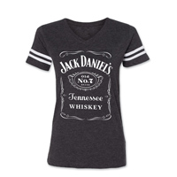 Jack Daniel's Women's Label Football Gray T-Shirt