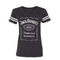 Jack Daniel's Women's Label Football Gray T-Shirt