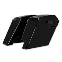 HogWorkz 4″ Vivid Black Extended Saddlebags with Single Cut Out