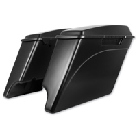 HogWorkz 4″ Denim Black Extended Saddlebags with Dual Cut Out