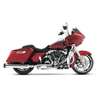 Rinehart Racing Slimline Duals Chrome with Chrome MOTOPRO45 Slip-On Mufflers and Black End Caps