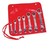 Kastar 7-Piece Metric Offset Ratcheting Box Wrench Set in a Roll Pouch