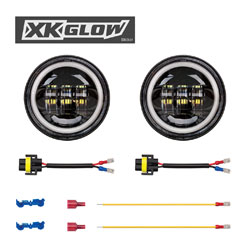 XK Glow 4-1/2 LED Black Passing Lights with Halo Turn Signals