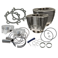 S&S Cycle 4″ Bolt In Sidewinder Big Bore Cylinder and Piston Kit Wrinkle Black