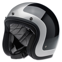 Biltwell Inc. Bonanza Tracker Gloss Black/Silver Open Face Helmet