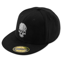 Black Brand Skull Flexfit Fitted Black Hat