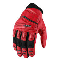 ICON Men's Super Duty 2 Red Leather Gloves
