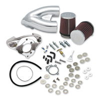 S&S Cycle Single Bore Tuned Induction Air Cleaner System Chrome with Red Filters