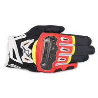Alpinestars Men's SMX-2 v2 Air Carbon Black/Red/Hi-Viz Gloves