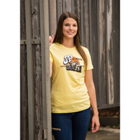 J&P Cycles Women's Vintage Logo Yellow T-Shirt