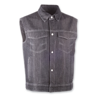 Highway 21 Iron Sights Traditional Collar Black Denim Vest