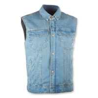 Highway 21 Iron Sights Traditional Collar Blue Denim Vest