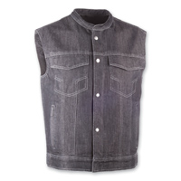 Highway 21 Iron Sights Club Collar Black Denim Vest