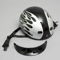 Zox Nano Custom Backfire Gloss Black and Silver Half Helmet