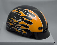 Zox Nano Custom Backfire Gloss Black and Orange Half Helmet