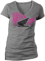 Honda Ladies Abstract Wings Heather Gray Short-Sleeve T-shirt