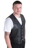 Interstate Leather Men's King Side Laced Black Leather Vest