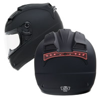 GMAX GM68 Matte Black Full Face Helmet with Built In LED Light