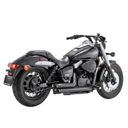 Vance & Hines Black Shortshots Staggered Black
