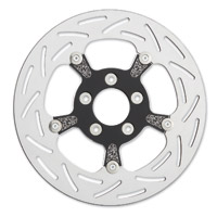 Arlen Ness Black and Chrome Engraved Floating Rotor for Victory