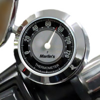 Marlin's CHAMP Series Black and Silver Analog Thermometer