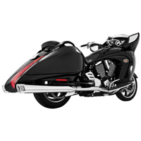 Freedom Performance Exhaust Racing Dual Exhaust with 4″ Mufflers, Chrome with Chrome Tips