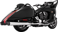 Freedom Performance Exhaust Racing Dual Exhaust with 4″ Mufflers, Chrome with Black Tips