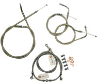Baron Custom Accessories Stainless Handlebar Cable and Line Kit
