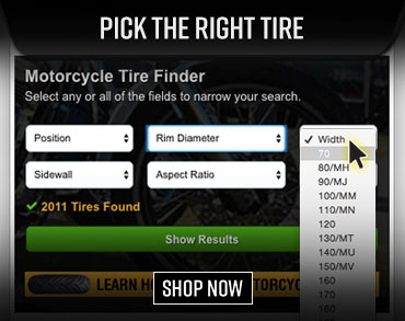 Shop Motorcycle Tires with our Tire Finder