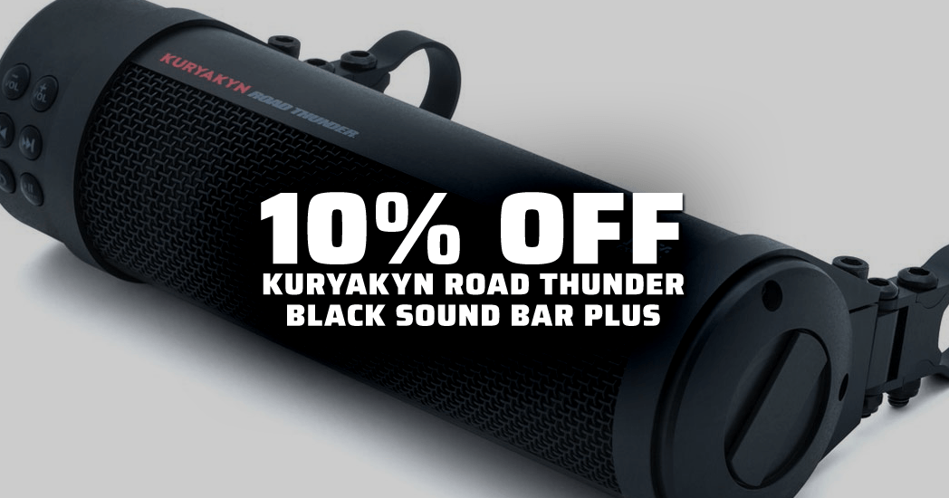 Save 10% on Kuryakyn Road Thunder Black Sound Bar while supplies last!