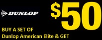 Buy Two Dunlop American Elite Tires Get $50