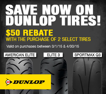 $50 Rebate When You Purchase a Set of Two Eligible Dunlop Tires