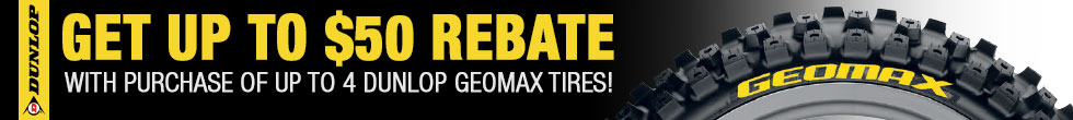 Up to $50 Rebate + Stickers on purchase of up to 4 Geomax Motorcycle Tires